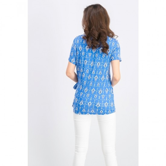 Women Printed Side-Tie Top 0062 - Blue Combo