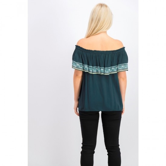 Women Off Shoulder Pullover Tops 0064 - Green
