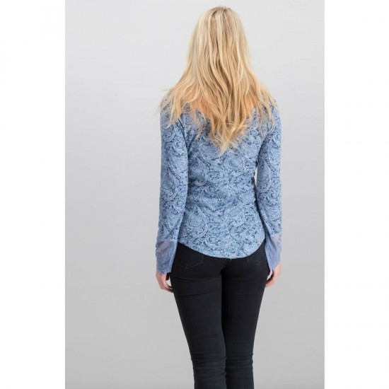 Women Clementine Textured Lace-Cuff Tops 0066 - Blue
