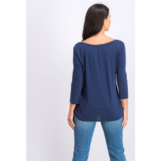 Women 3-4 Sleeve Polka Dots Top 0069 - Blue