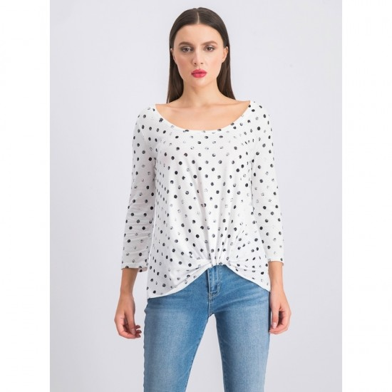 Levie Knot Front Knit Top 0070 - White and Black