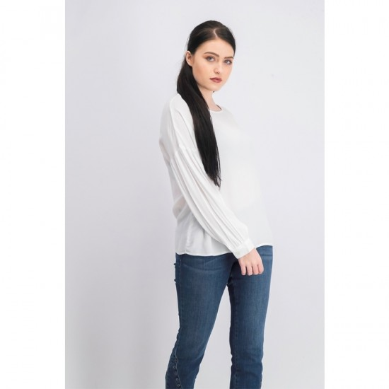 Women Long Sleeve Back Button Blouse 0071 - White
