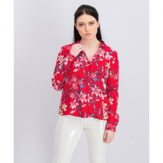 Women Floral Long Sleeve Blouse 0072 - Red