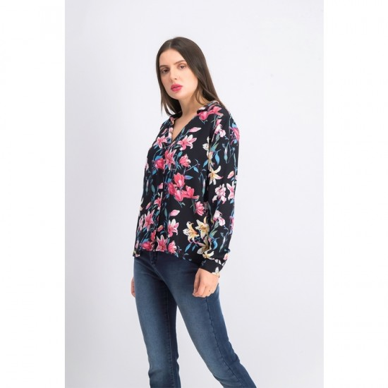 Women Floral Print Long Sleeve Blouse 0073 - Black Combo