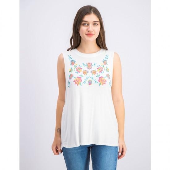 Women Petite Sleeveless Embroidered Swing Top 0074 - White
