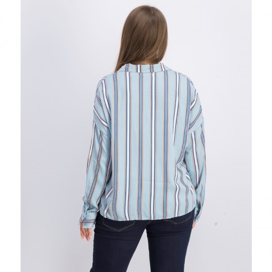 Women Stripe Long-sleeve Blouse 0077 - Light Blue Combo