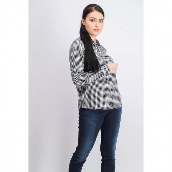 Women Plaid Long Sleeve Top 0078 - Black and White