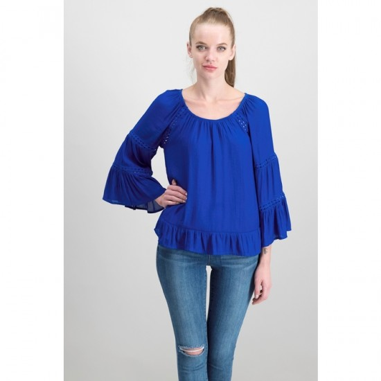 Women Petite Tiered Sleeves Peasant Top 0081 - Bright Blue