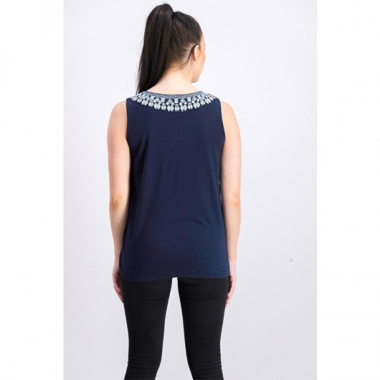 Women Petite Sleeveless Embroidered Top 0082 - Navy Blue