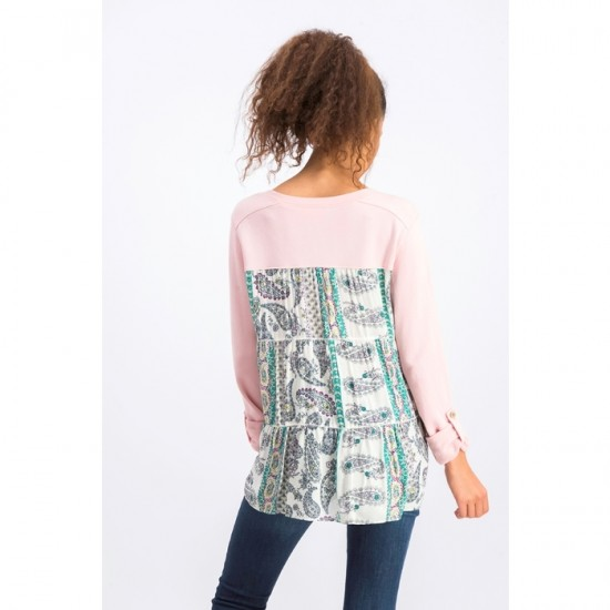 Women Printed Tiered-Back Top 0085 - Hibiscus Heather