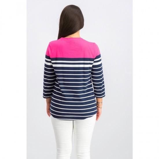 Women 3/4 Sleeve Striped Top 0086 - Steel Rose