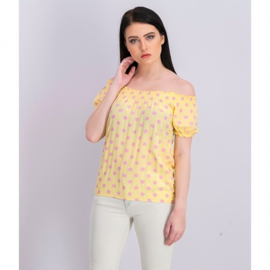 Women Polka Dots Blouse 0088 - Yellow and Pink