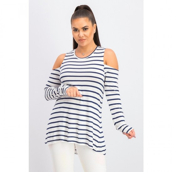 Women Long Sleeve Stripe Top 0089 - White and Navy