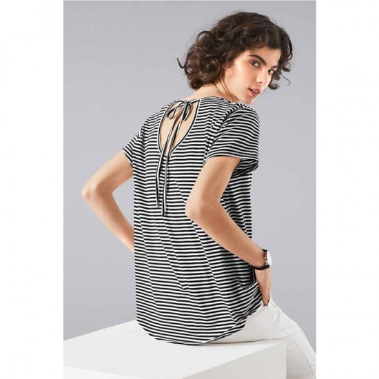 Women Striped Shirt 0092 - Black and White