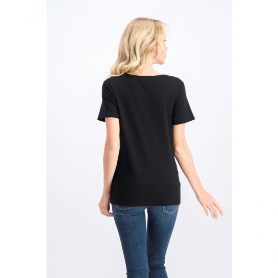 Women Button-Hem Scoop-Neck Top 0093 - Deep Black