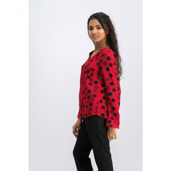 Petite Dot-Print Zippered-Neck Top 0096 - Red