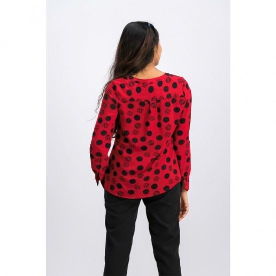 Petite Dot-Print Zippered-Neck Top 0096 - Red