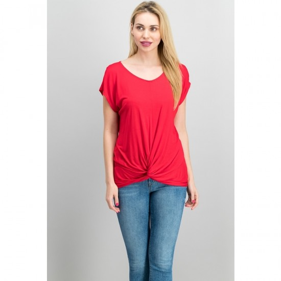 Women Twist-Front Top 0097 - Real Red