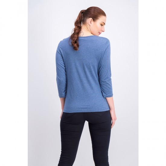 Women 3/4-Sleeve Soutache Top 0101 - Heather Indigo