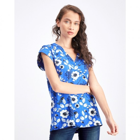 Women Floral V Neck Top 0104 - Blue and White
