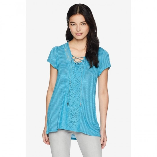 Women's Petite Short Sleeve Striped Lace up Neck Top 0047 - Blue