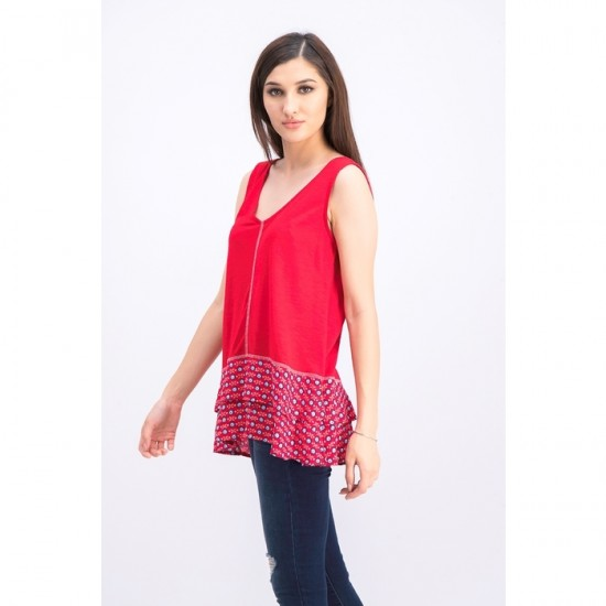 Women Ruffled-Hem Sleeveless Top 0060 - Firework Floral Red