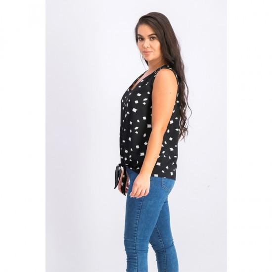 Women Carsen Tie Front Blouse 0067 - Black